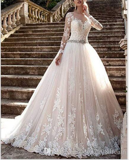 Crew pura cuello atractivo ver a través del botón Volver mangas largas Apliques Vestios vestido de novia barato de la nueva vendimia de novia de encaje vestidos de novia