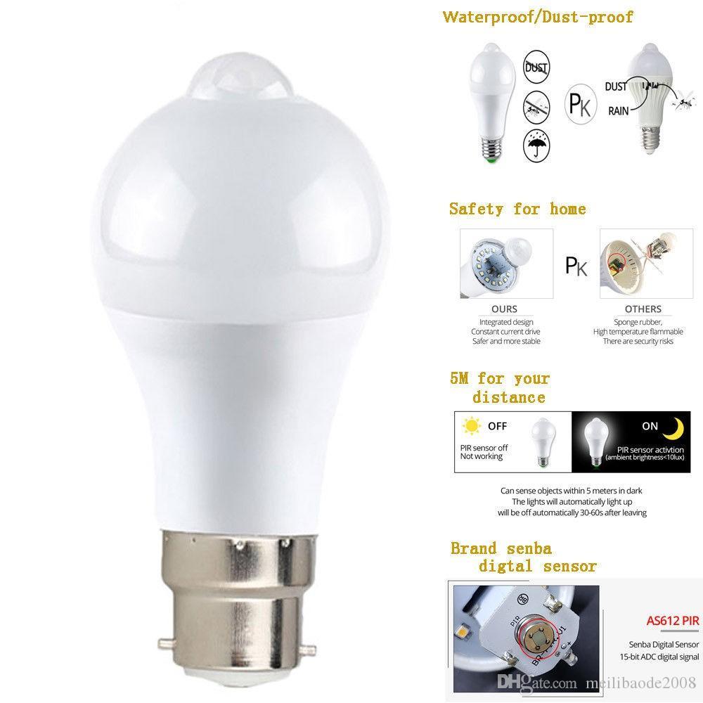 Lampadina Sensore Movimento Audio E27 PIR 3W-12W Lampada Smart LED Automatica 8