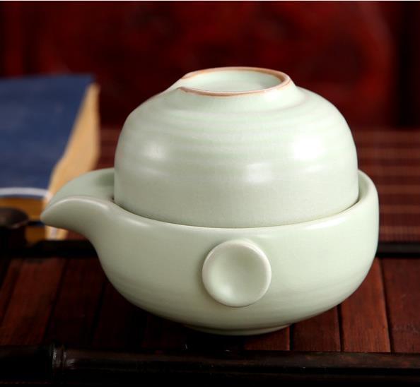 2019 2PCS 1cup + 1pot Дэхуа Ceramic Селадон Подарочная коробка Kung Fu Чайный сервиз Малый Кубок чайника чай чашка путешествия TEA CUP Set