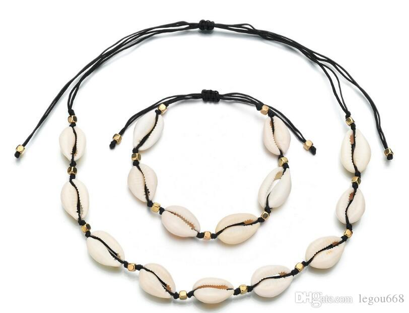 La naturaleza y la aleación de zinc Shell encanto collar cordón beige Color oro joyería de la mano un conjunto collar para mujeres mejor regalo GB850