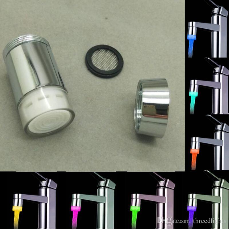 LED musluk sıcaklık sensörü mutfak LED Işık Su dokunun Başkanlarını RGB Glow Duş Akış banyo 3 Renk Değişimi Bırak gemi musluk