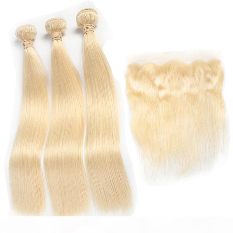 C brasiliana 613 diritta bionda 3 fascio di capelli con Pizzo frontale Pre a pizzico con capelli del bambino 100% reale estensioni dei capelli umani