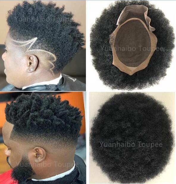Bisoñes cordón de 4 mm Mono Afro pelo para Basketbass jugadores y los aficionados reemplazo Virgen india del cabello humano afro rizo rizado de los hombres peluca libre Shippinng