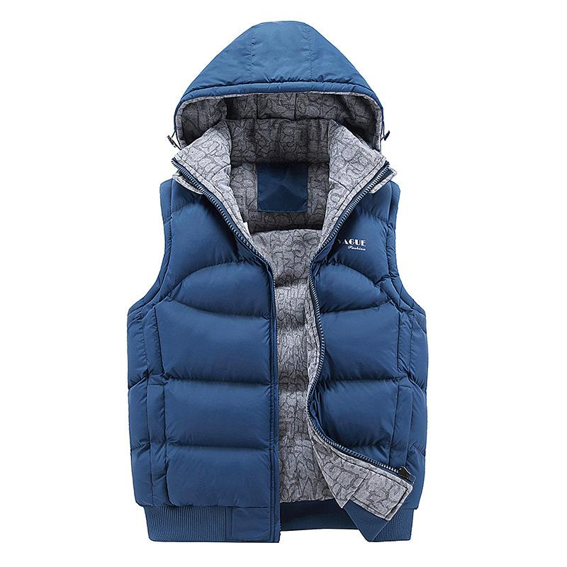2019 Fashion Sleeveless Jacket Men Thick Cotton Vest Hat Hooded Warm Vest Winter Male Waistcoats Men Casual Windbreakers M-3XL