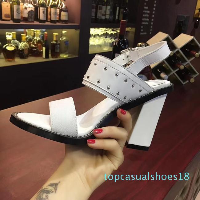 New Arrivals Lux Women Sandal Thrill Heels 9.5cm Women Unique Designer Pointed toe Dress Wedding Shoes Sexy shoes Letters heel Sandals T18
