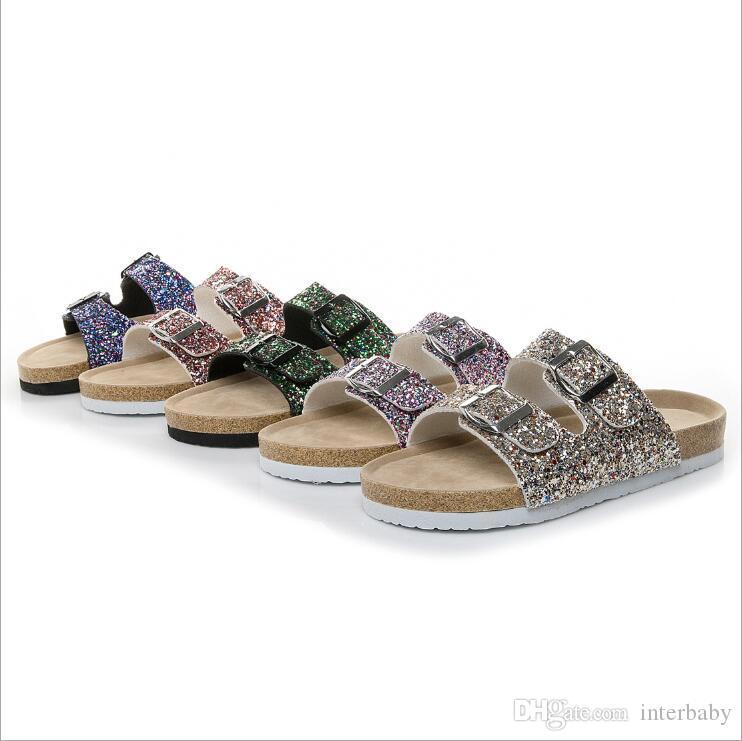 Sandales en liège - Sirène - Tongs - Paillettes - Pantoufles florales - Sandales solides pour l'été - Pantoufles antidérapantes pour la plage - Pantoufles tout-aller - Chaussures Sandalias A5678