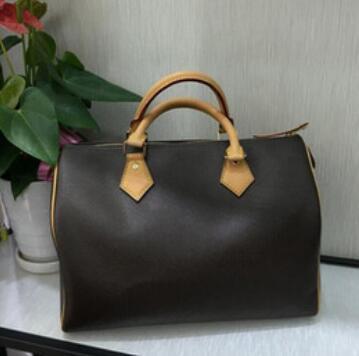 2018 Fashion ossidazione 100% puro cuoio Borsa della spesa veloce borsa 25/30/35 con serratura e sacchetto di chiave tote spalla Classic Canvas Bag