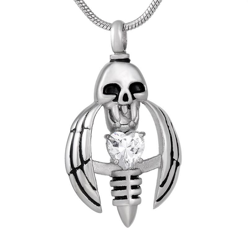 nouveau z793 argent Tenir Crsytal Memorial Wing squelette en acier inoxydable Urne collier pour Ashes - Mens Keepsake Crémation Pendentif Bijoux