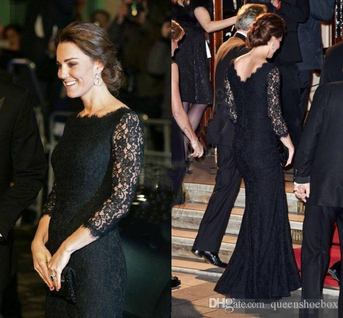 Kate Middleton Jenny Packham Mermaid Dresses Evening Wear Full Lace Long Sleeves Prom Dress Low Back Celebrity Red Carpet Gowns Floor Length