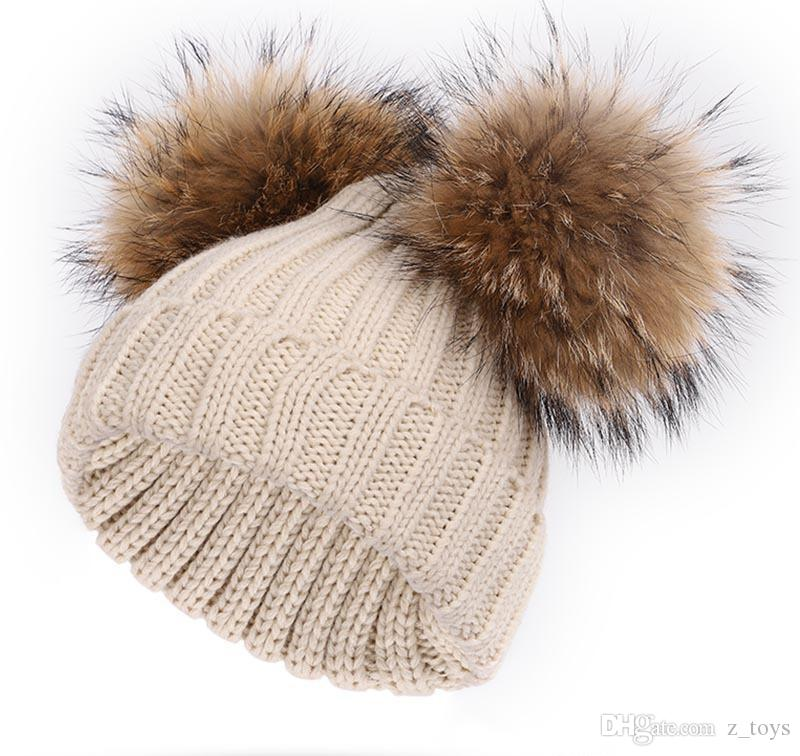 New Winter baby Knitted Hat Two real Fur Pompoms Ball Beanie Kids Caps Double Pom Pom Hat