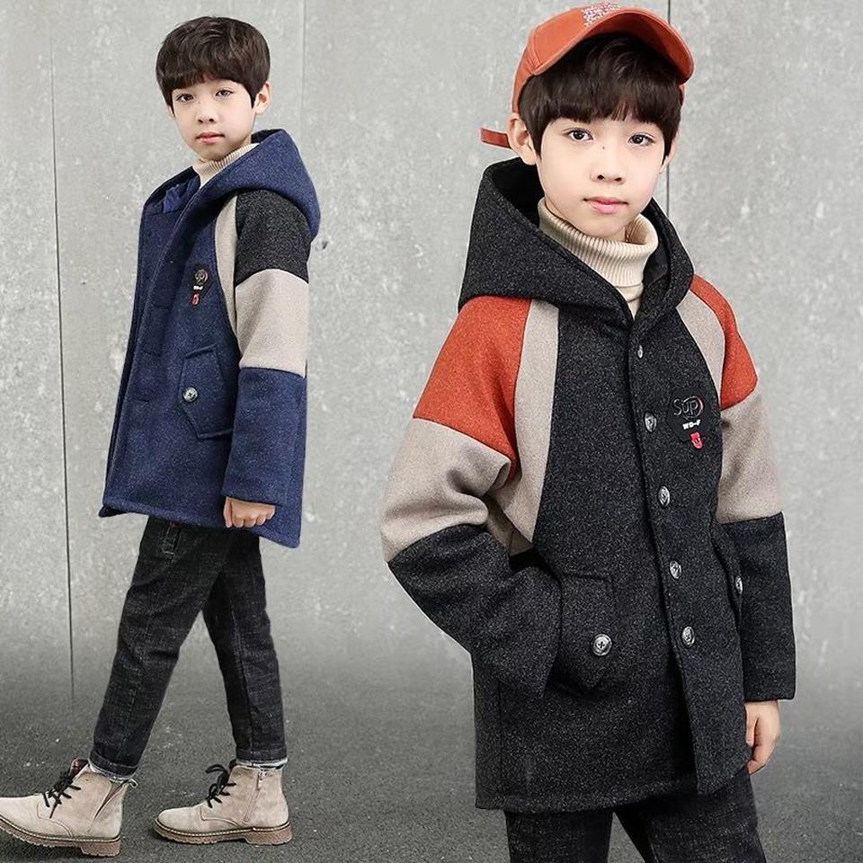 Kids Boys Overcoat Winter New Fashion Patchwork Wool Coat for Boys Teens Autumn Jacket Warm Long Outerwear Children Windproof
