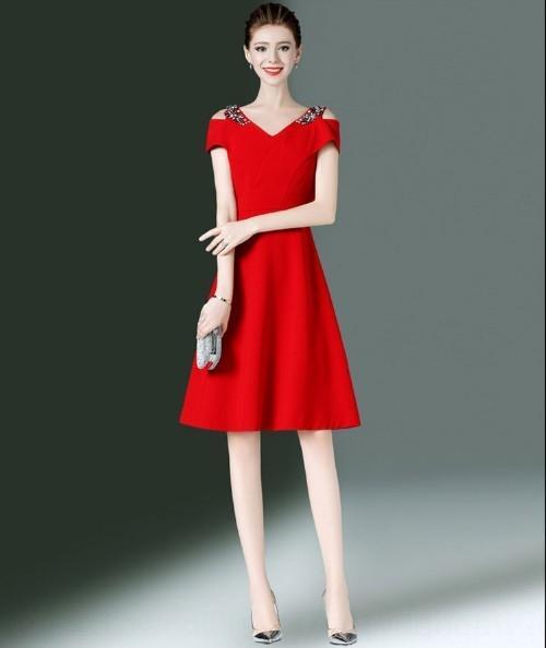 JPFIX Navy blu Una linea di fashionableshoulder- 2019 slim-fit elegante abito tempestato di diamanti vestito rosso linea A- nuova estate con scollo a V
