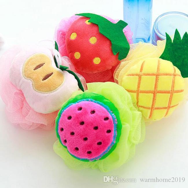 Colorida forma de la fruta del baño del depurador de la historieta linda 50pcs del baño del depurador con colgantes de cuerda Depuradores para el hogar Suministros para Baños