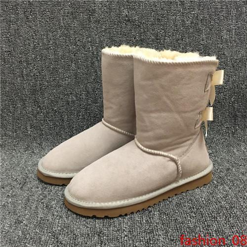 Les nouvelles bottes de créateurs de mode femmes Bottes de neige 2-Bow Retour Décoration australienne Style de vache en cuir suédé hiver Lady Outdoor Boots Marque Ivg