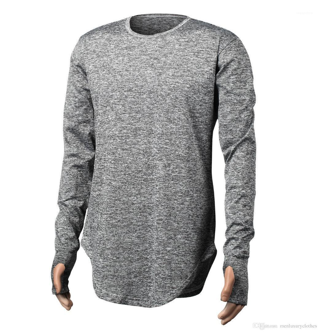 Tasarımcı Tshirts Parmak Longline Kavisli Sokak Katı Tops Uzun kollu Tişört Erkek Sonbahar Genç