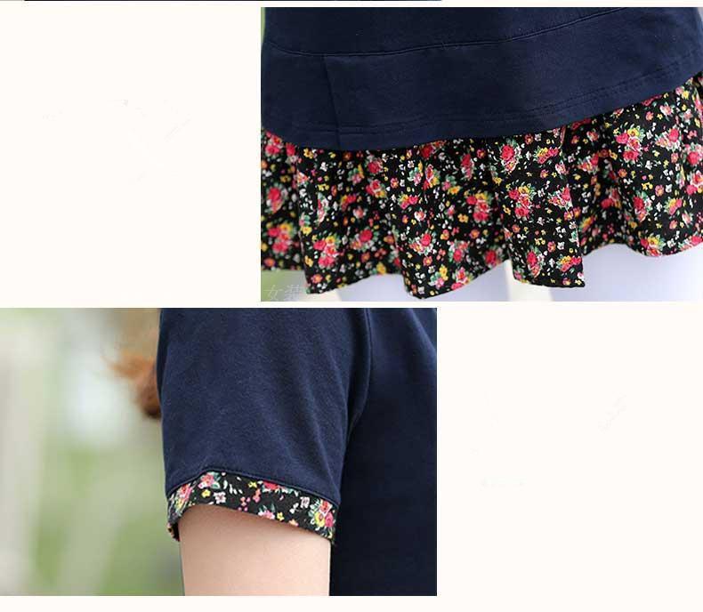 camicia a maniche floreale plus size M-5XL O-rappezzatura del collare estate nuova signora di arrivo di Lady