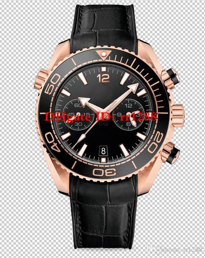 10 relógio dos homens do estilo 45.5mm Planeta Oceano Co-Axial 600M 215.32.46.51.01.001 215.92.46.51.99 VK Quartz Chronograph Data de ouro rosa Mens Relógios