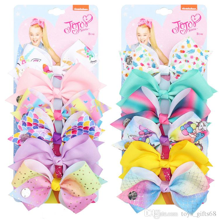 2019 cross-border explosion 5 inch jojo bow set 6colors/set one card children hairpin clip set baby tiara hair accessories
