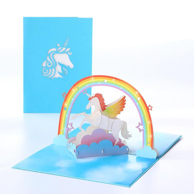 Doğum Hediyesi için Kart Karikatür Hayvan Kağıt Şükran Kartları El yapımı Blessing Kart Tebrik Unicorn Yaratıcı 3D