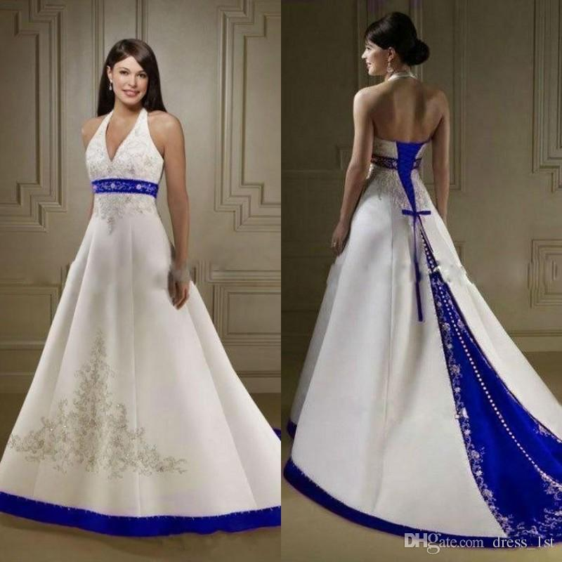 Discount Vintage Royal Blue And White Wedding Dresses Gowns Halter