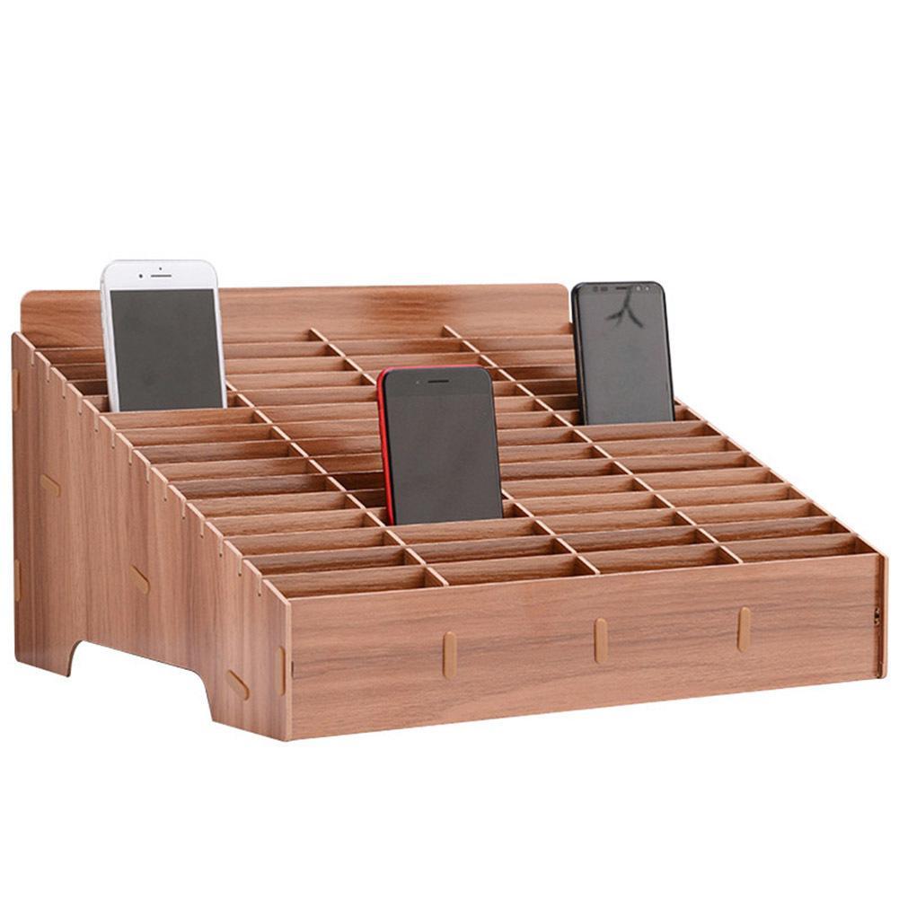 Multi-grid Wooden Mobile Phone Storage Box Desktop Organizer for Office Classroom 30/45 Grid E2S T200320
