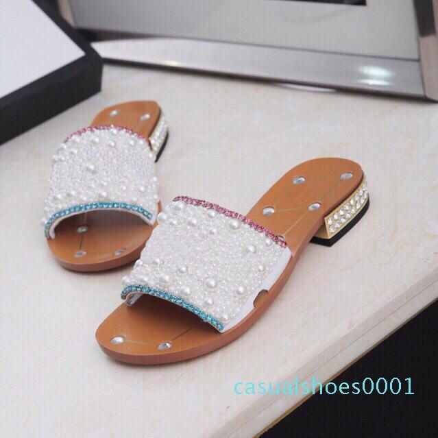 2020 новые женские горный хрусталь туфли на низком каблуке Жемчужина дизайнерская работа летние женские сандалии платье обувь классический тренд мода большой c01