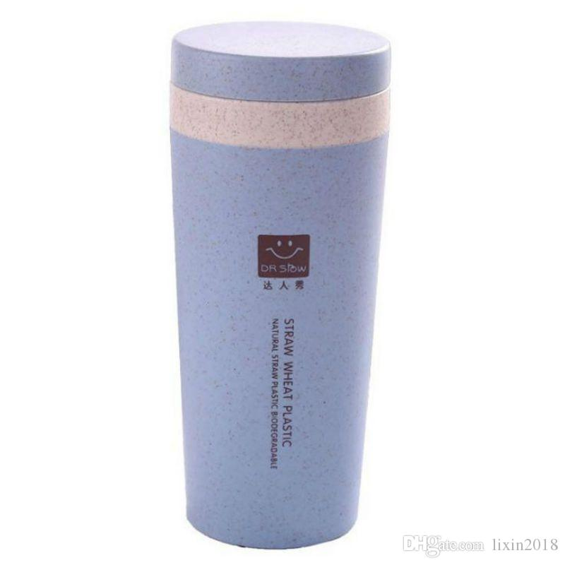 New Wheat straw double cup Creative portable hand Environmental protection cup with lid Student cup Tea Coffee Water With color box