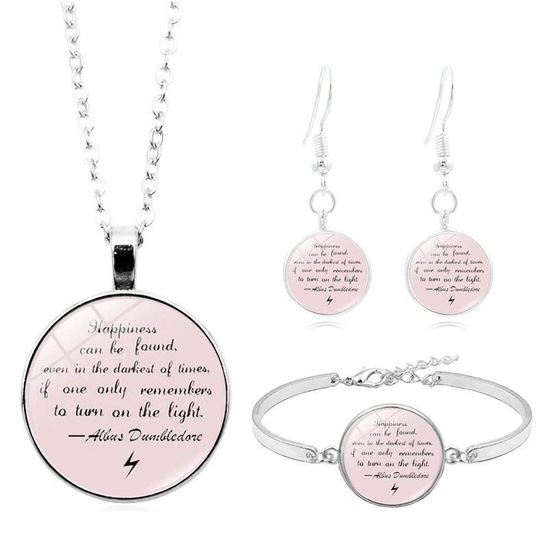 Inspirierend Zitat Schmuck Sets Silber Mode Fremdsprachen Englisch Letters Cabochon Glashalsketten-Armband-Ohrring-Schmucksachen für Frauen
