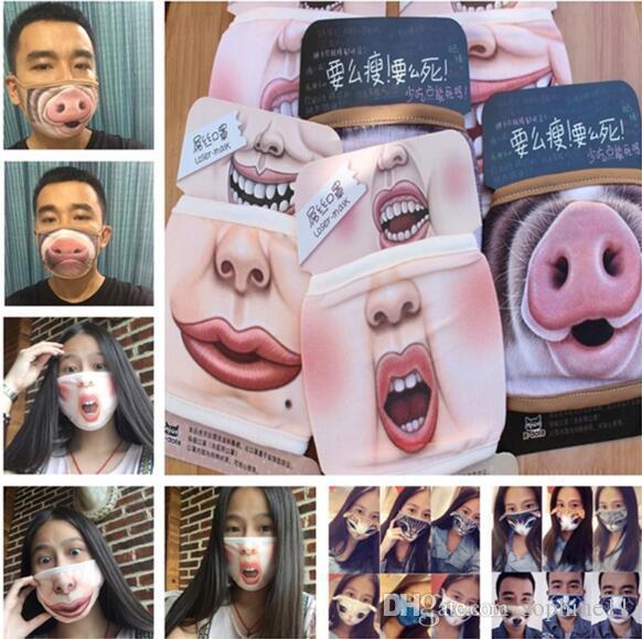 مضحك الفم قناع لطيف مكافحة الغبار مضحك الأسنان القطن الفم قناع الوجه الكرتون Emotiction قناع قابل للغسل قابلة لإعادة الاستخدام الأزياء الفم قناع