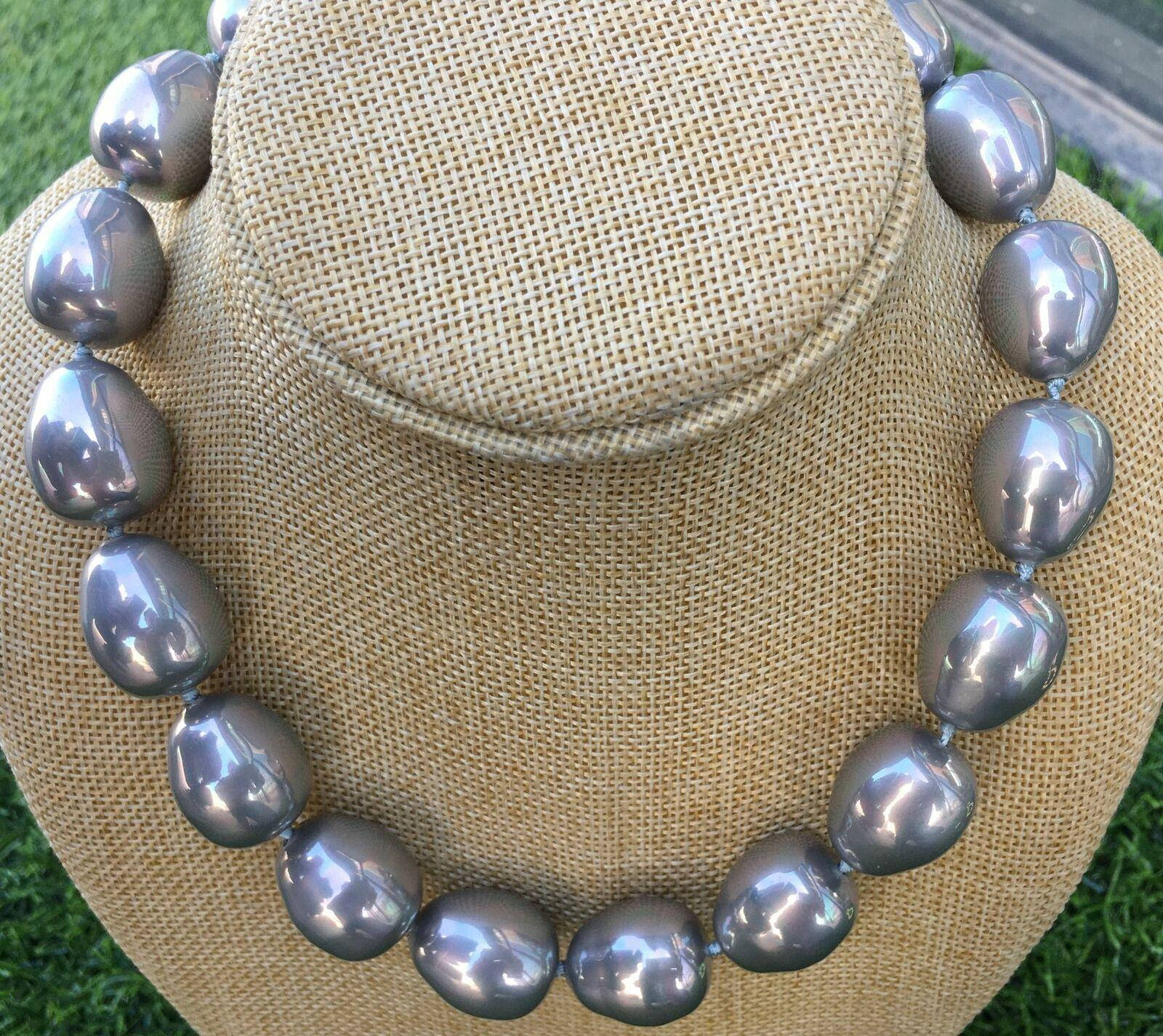 """HUGE LARGE FASHION 20MM SOUTH SEA GRAY BAROQUE SHELL PEARL NECKLACE 17.5"""""""