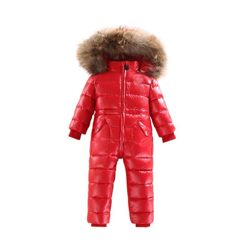 2019 di inverno del bambino Big vero collo di pelliccia bianco anatra giù pagliaccetti del bambino incappucciato caldo antivento del pagliaccetto dei bambini del pagliaccetto bambini neve tuta da sci