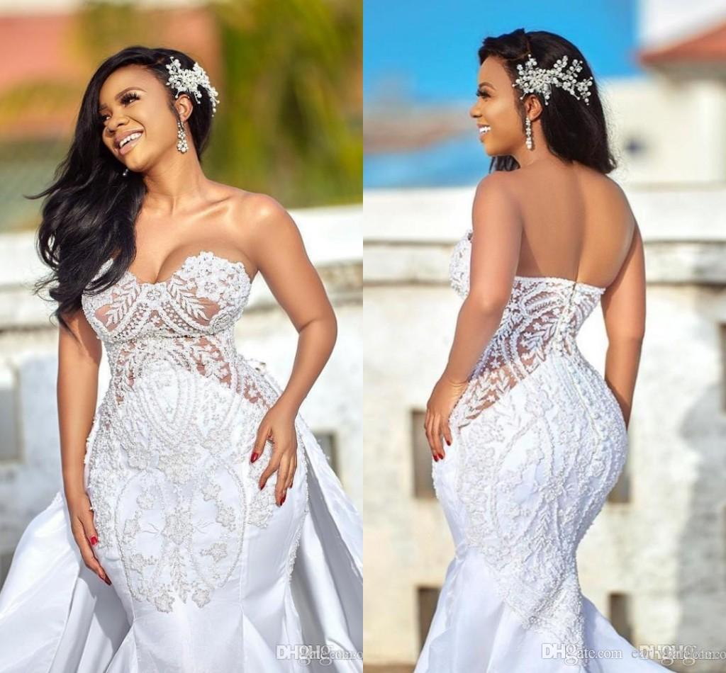 African Plus Size Wedding Dresses with Detachable Skirts Sweetheart Castle Mermaid Wedding Gown Appliqued Satin Country Bridal Dress