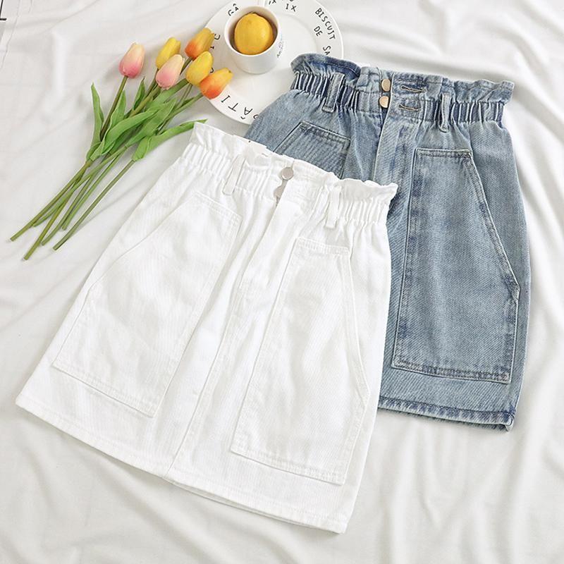 Sexy White cintura alta Jeans Saias Pockets Casual A linha Ruffles vestidos elástico na cintura Mulheres Denim Skirt