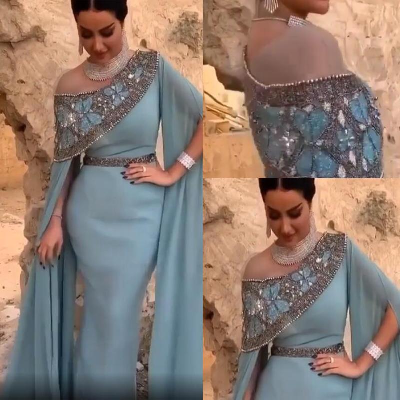 Tozlu Mavi Kapalı Omuz Mermaid Gelinlik Modelleri Artı Boyutu Arapça Payetli Boncuklu Akşam Giyim Kıyafeti Şair Uzun Kollu Örgün Parti Elbise