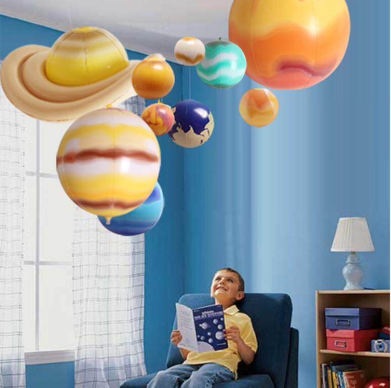 10pcs 행성 아이들을위한 태양계 장난감 지구 스타 교수형 장식 홈 가제트 교육 장난감 크리스마스 선물 어린이