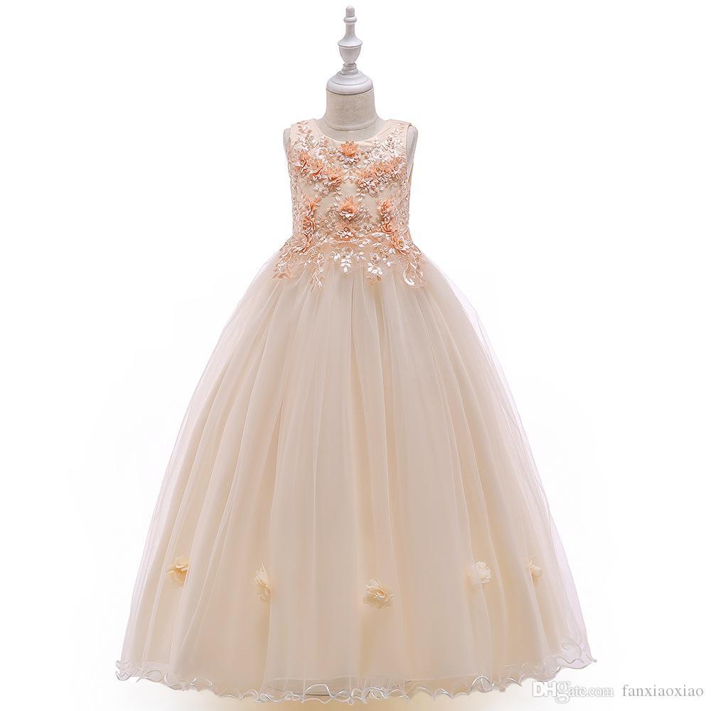 Nouvelle fleur robe longue pour les enfants perles podium fille robe de princesse grise montre mariage robe mousseuse
