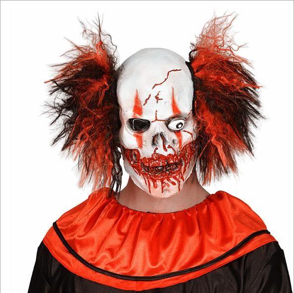 New Hot Sale engraçado palhaço mau assustador máscara de látex de borracha Joker Mask Halloween Party traje do palhaço com o cabelo para adultos Cosplay