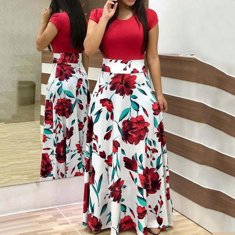 2020 Çiçek Boho Maxi Elbiseler Büyük Beden Kadınlar Yaz Büyük Boy Elbise Parti Bayanlar Şık Bayan Çiçek A Hattı vestidos 4XL 5XL T200623