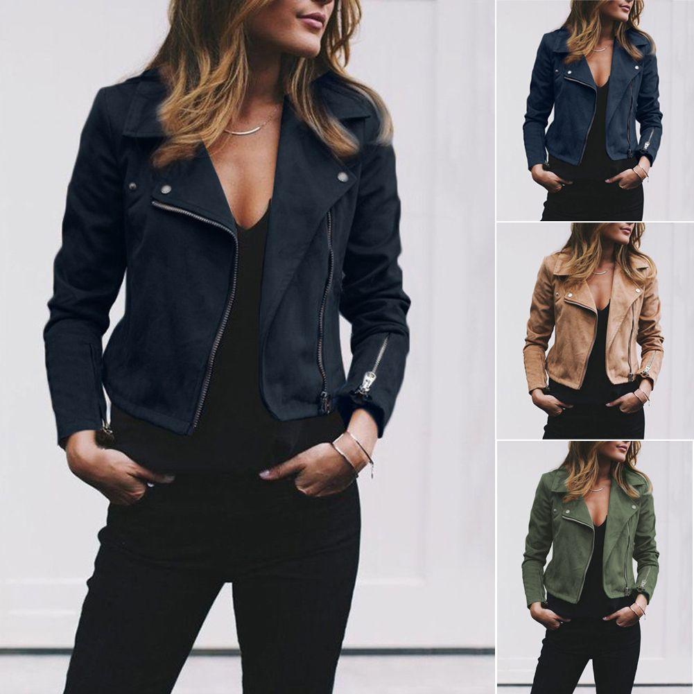 Jaqueta de couro outwear Mulheres Ladies clássico Coats manga comprida Zip Up Windbreaker motociclista vôo ocasional outwear Top Coat