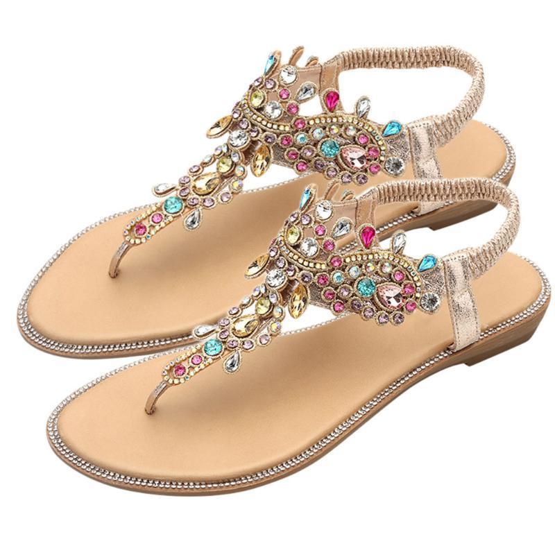 Les femmes Sandales Bohème style Chaussures d'été pour les femmes sandales plates Chaussures de plage 2019 Fleurs Tongs Taille Plus Femme Chaussures