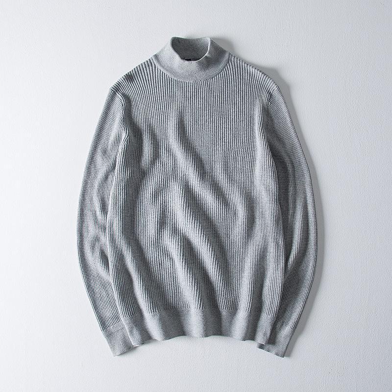 Мужская водолазка Высокий воротник Casual Male Vintage Top с длинным рукавом серый свитер Крупногабаритные Мужчины Серый Трикотажная пуловер XXXL