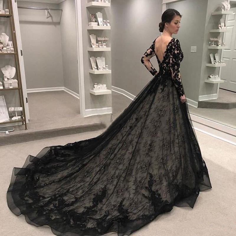 Siyah Gotik Gelinlik Dantel Backless 2020 Vintage Bir Çizgi Gelin Elbise Artı Boyutu Gelin Balo