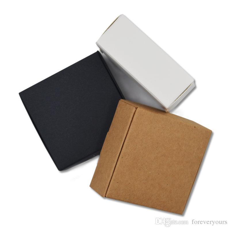 الصابون صناديق من الورق المقوى ورقة سوداء صغيرة krfat أسود مربعات صغيرة فارغة بيضاء ورق الكرافت مربع الحلوى هدية التعبئة والتغليف