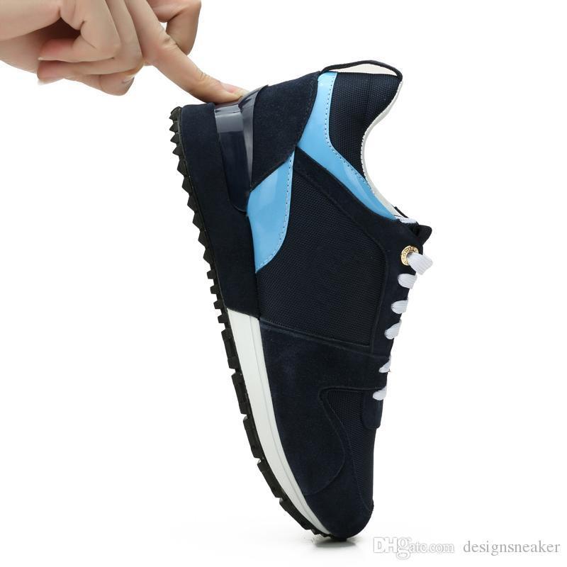 2019 Yeni Kadın Erkek Tasarımcı Sneakers Ayakkabı Deri Karma Renk Trainer Casual Deplasman Ayakkabı Unisex Boyutu 35-45 Mesh