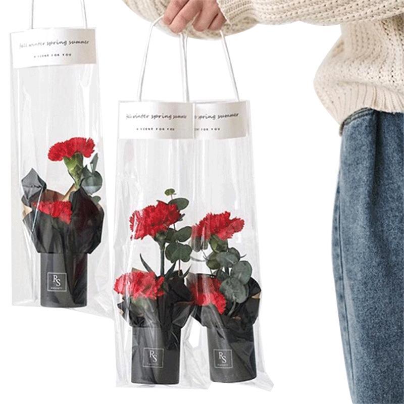Прозрачный букет ручной коробки PP пластик Цветок картонный цилиндр Цветок Containner сумка Роза Подарочный пакет сумка для переноски цветов