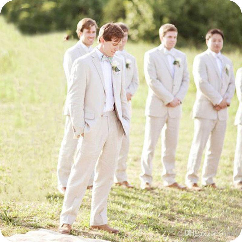Tailored Made Summer Linen Ivory Men Suits for Wedding Casual Groom Tuxedos Smart Groomsmen Blazer 2Piece Costume Homme Bridegroom Jacket