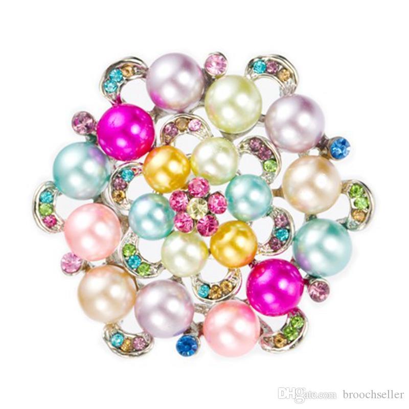 Rhodium verzilverd multi gekleurde strass-kristal en parelbloem broche