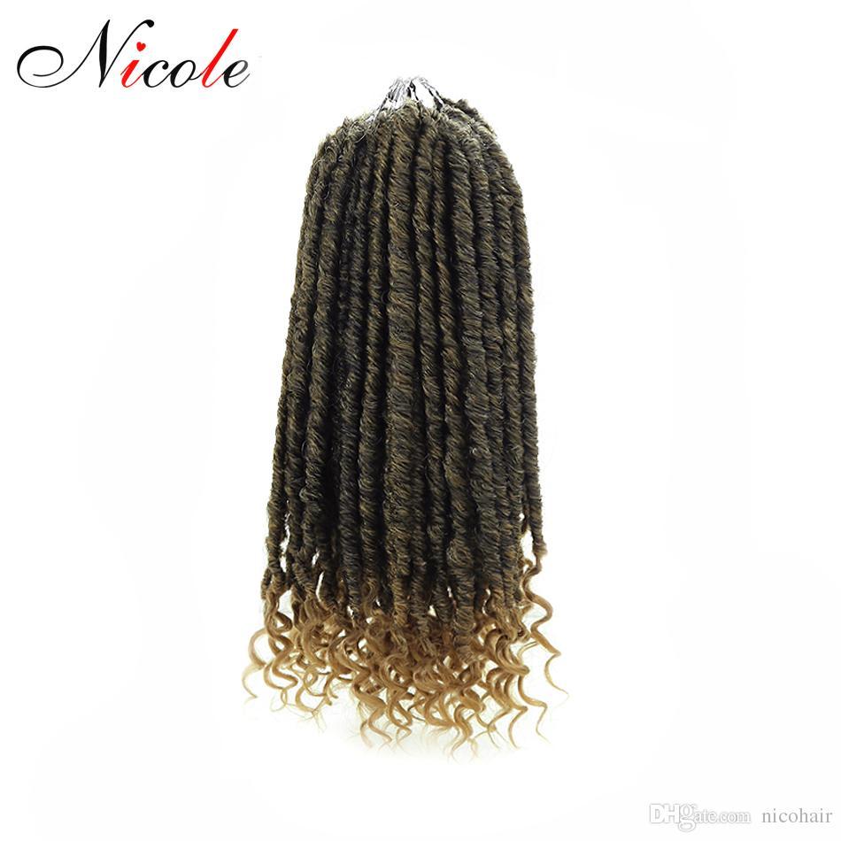 Nicole Goddess Faux Locs Crochet 옹 브르 곱슬 머리 꼰 머리 85g / pack 18 인치 Soft 여신 합성 크로 셰 뜨개질 Braids 헤어 익스텐션