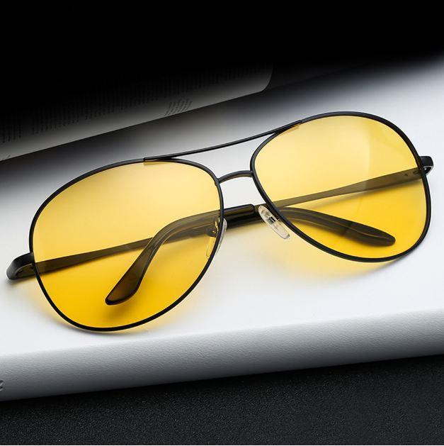 1PC 나이트 비전 안경 남성 운전 노란색 렌즈 UV400 선글라스 클래식 안티 눈부심 비전 드라이버 안전 편광 안경