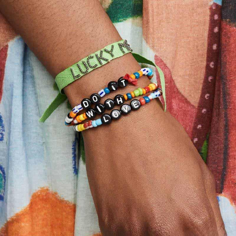 VSCO Lettre fille Perle Bracelet 3PCS / Set Boho plage corde Bracelets élastique Bangles poignet chaîne Bijoux Accessoires Cadeau